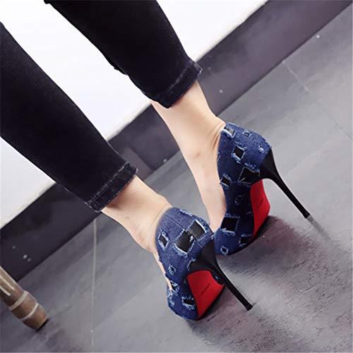 Personalidad Tacones Boca Las de la black Multa Partido la Mujeres Zapatos con la de Moda de los YMFIE Solos La Zapatos Baja Altos acentuó del qATx7xP