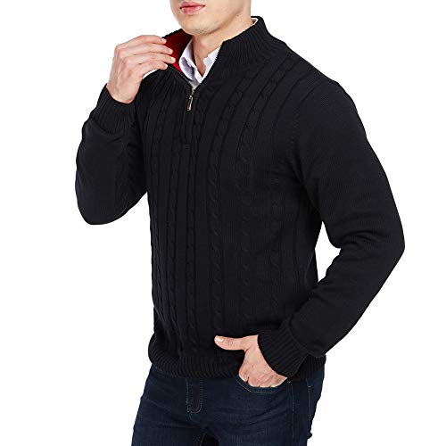 APRAW Men's Relaxed Fit Quarter Zip Sweater Pullover with Twisted Patterned Black -