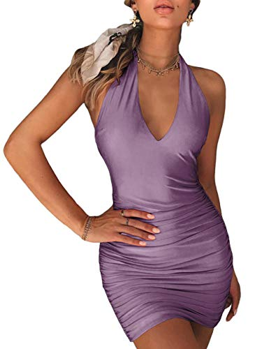 NAFOUR Women's Halter Backless Bandage Dress Low Cut Ruched Bodycon Cocktail Club Mini Dress Dark Purple