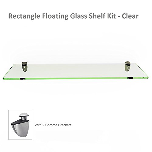 Fab Glass and Mirror Rectangle Floating Glass Shelf Kit, 6