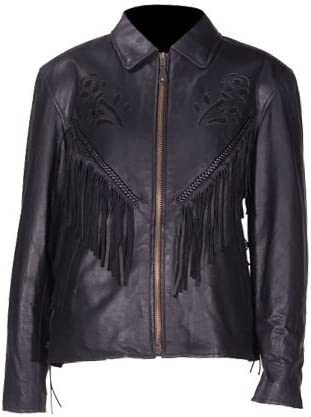 Size M, MD, Medium Womens/Soft Leather Jacket with Braid Detail