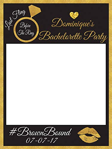 Custom Gold Trim Bachelorette Party Photo Booth Prop - sizes 36x24, 48x36; Personalized Bachelorette Party prop, last fling before the ring, Home Decorations, Handmade Party Supply Photo Booth Frame