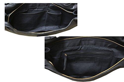 FERETI Borse grandi bicolore Nero e Marrone vera pelle marrone Leone 3D e nappa donna