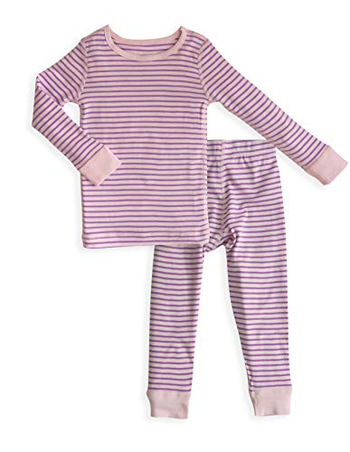 Toddler Girl's Long Sleeves Pink Orchid Organic Cotton Pajama Sets - 100% Soft Organic Cotton Shirt Pants - Sizes 2T (Shirt Pants Pajamas)