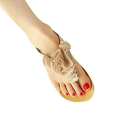 YOUJIA Women Beach Flat Sandals Casual Clip Toe Sandal Flower T - Strap Beach Shoes (Beige,9.5-10US)