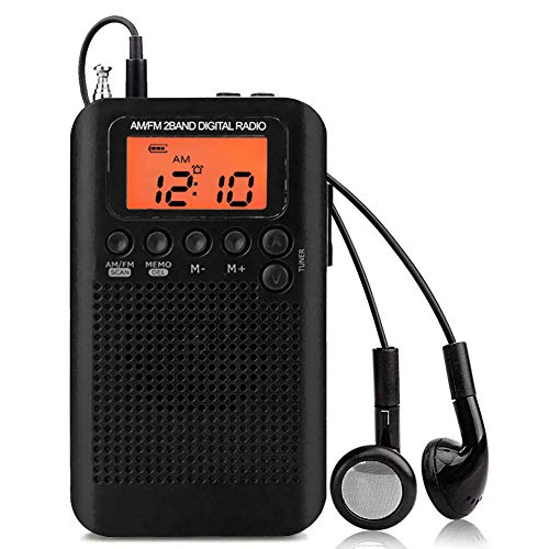 UMEXUS Portable Pocket AM FM Radio Built-in Antenna Digital Radio with Backlight LCD Display Best Reception Compact Radio for Hiking Walking Jogging
