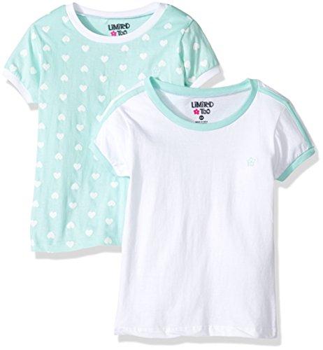 Limited Too Little Girls' 2 Pack Short Sleeve Ringer Tee, KW23 Multi, 4