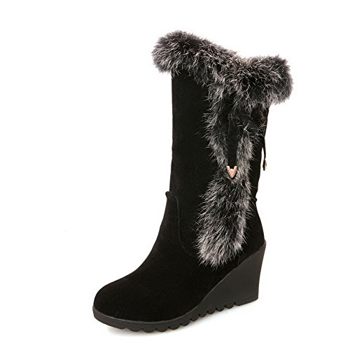 AmoonyFashion Womens Round Closed Toe High Heels PU Solid Boots with Fur Ornament and Bowknot Black jFi4BF