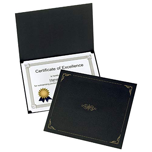 Oxford Certificate Holders, Black, Letter Size, 25 Per Pack (299550) ()