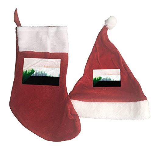 Sudan Flag with Forest Santa Hat & Christmas Stocking Holiday Christmas Decorations Party Accessory -