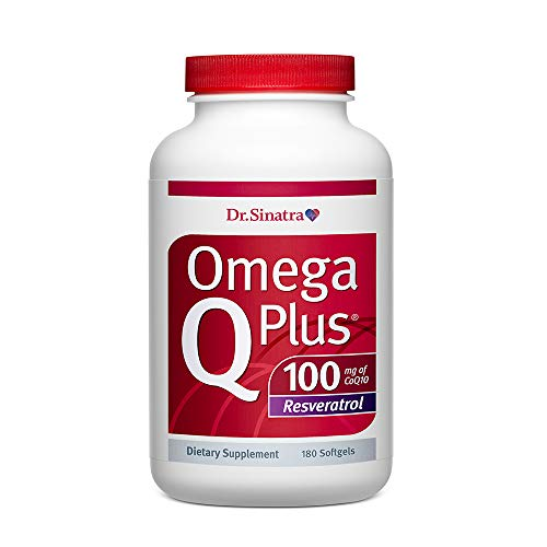 Dr. Sinatras Omega Q Plus 100 Resveratrol - Omega-3 Supplement Supports Healthy Blood Flow, Blood Pressure, and Provides Antioxidant Power with 100mg of CoQ10 and Resveratrol (180 softgels)