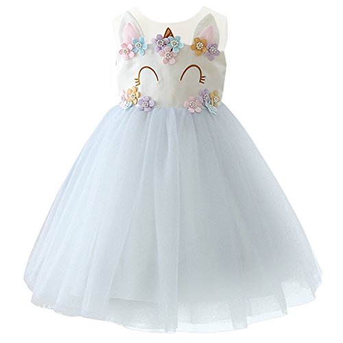 Unicorn Dress Girl Unicorn Flower Ruffles Cosplay Party Wedding Halloween Fancy Princess Dress for Photo Shoot Light Purple 4-5 Years