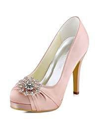 ElegnatPark EP2015-PF Women Satin Platform Flower Buckle Rhinestones Closed Toe High Heel Wedding Bridal Shoes
