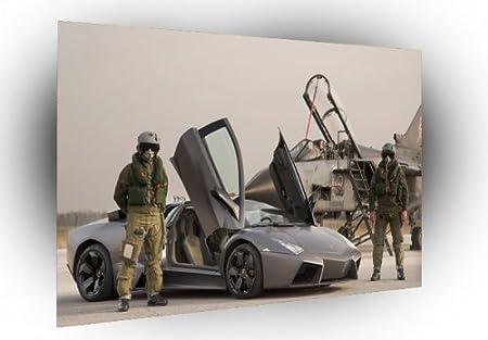 Lamborghini Black Reventon Side View Guarded By Jet Poster Photo Art
