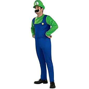 Super Mario Brothers Luigi Costume, Blue/Green, Medium