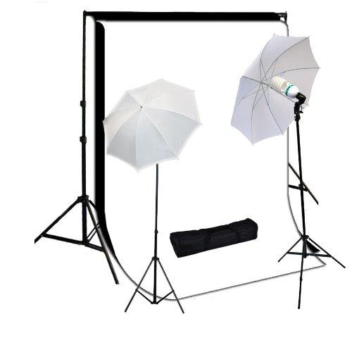 StudioFX 800W Photography Lighting Kit, 10 x 10 Feet Cotton Black Muslin Backdrop Background and Photo Portrait 33-Inch Umbrella, White by StudioFX