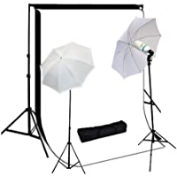 StudioFX 800W Photography Lighting Kit, 10 x 10 Feet Cotton Black Muslin Backdrop Background and Photo Portrait 33-Inch Umbrella, White