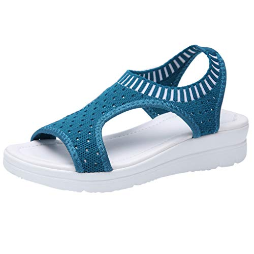 Mysky Fashion Women Summer Hollow Out Breathable Cloth Sandals Ladies Casual Comfort Wild Wedges Sock Shoes Dark Blue