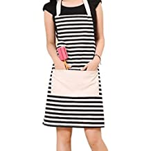 GYBest Cotton Canvas Women's Apron with Convenient Pocket Durable Stripe Kitchen and Cooking Apron for Women/Men Professional Stripe Chef Apron for Cooking, Grill and Baking(black and white)