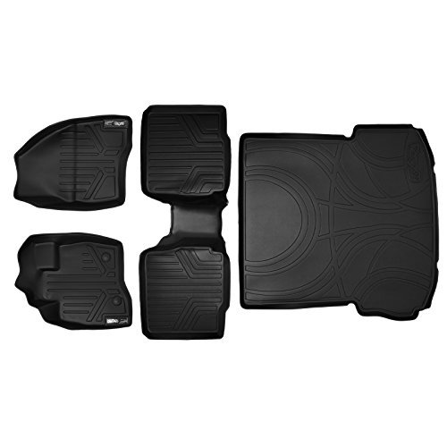 MAXLINER Custom Fit Floor Mat and Cargo Liner for Select Ford Explorer Models - (Black) (2 Row Set With 2nd Row Center Console) by MAXLINER (Cargo Row Console)