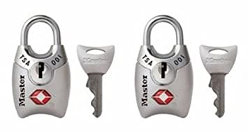 4689TSLV Master Lock Padlock 1 in Wide Silver Keyed TSA-Accepted Luggage Lock Pack of 2