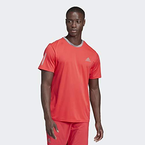 adidas Men's Club 3-Stripes Tee, Shock Red/Light Granite, X-Small by adidas (Image #6)