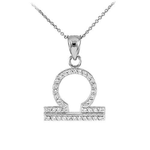 Collier Femme Pendentif 14 Ct Or Blanc Balance Zodiaque Signe Diamant (Livré avec une 45cm Chaîne)