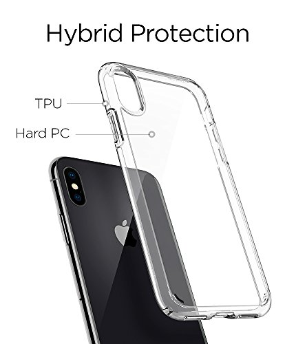 Spigen Ultra Hybrid iPhone X Case with Air Cushion Technology and Hybrid Drop Protection for Apple iPhone X (2017) - Crystal Clear by Spigen (Image #5)