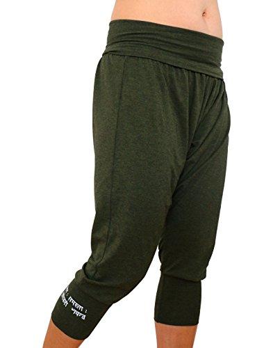 Karmala Bamboo Baggy Capri Pants, Soft and Eco-Friendly, Small, Olive Green