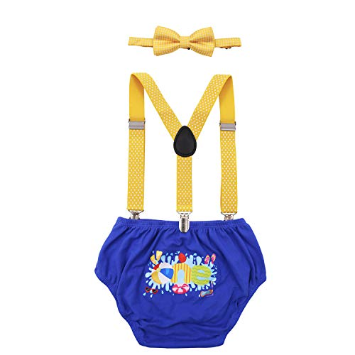 Beach Ball Cake Smash Outfit Pool Party First Birthday Bloomers Bowtie Adjustable Y Back Suspenders Strap Clip Costume Diaper Cover Yellow Blue ()