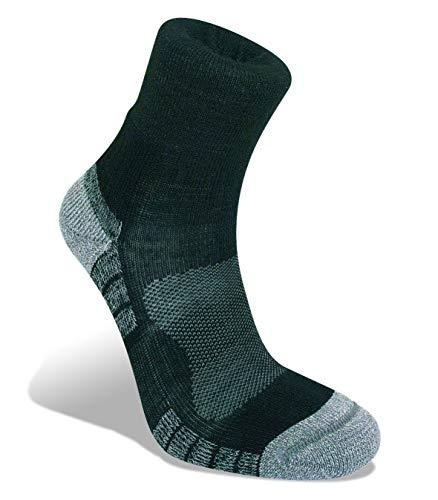 Bridgedale Men's Lightweight Ankle Height - Merino Endurance Socks, Black/Silver, Large