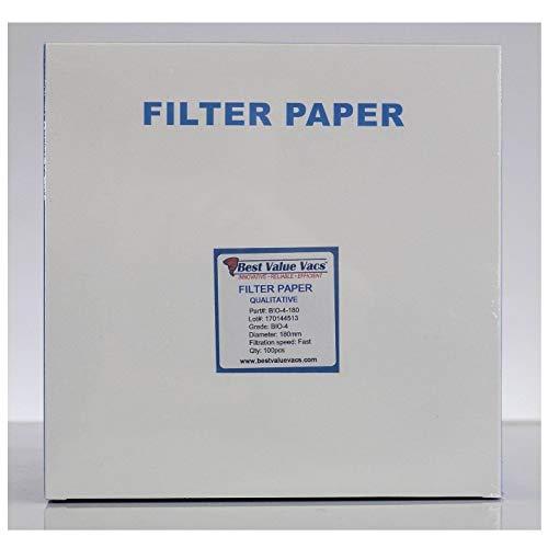 Best Value Vacs Ashless Filter Papers - 180MM - Qualitative - Grade 4 - Fast - 20-25um