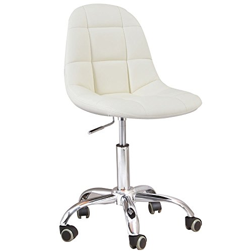 Modern White Leatherette and Chrome Rochelle Office Chair ()