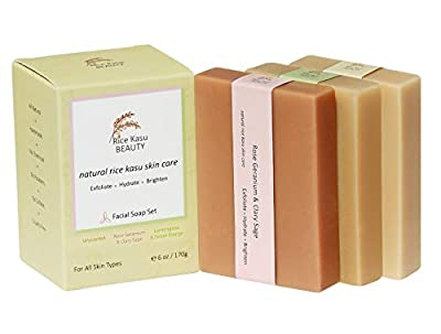 Rice Kasu Beauty Facial Soap Set, 3-Piece Handmade Facial Soap Set / Travel Facial Soap Set Plus Case