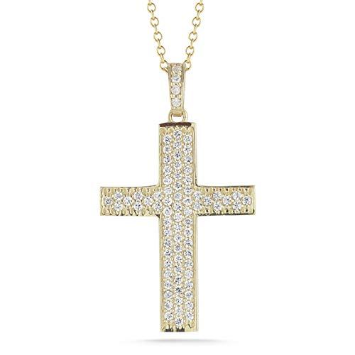 I REISS 14K Yellow Gold 0.54ct TDW White Diamond Straight Cross Pendant Necklace ()