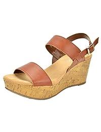 TOETOS SANDRO-01 New Women's Casual Open Toes Mid Heels Platform Wedges Summer Sandals