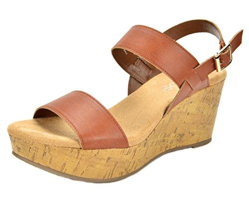 TOETOS Women's Sandro-01 Tan Mid Heel Platform Wedges Sandals - 10 M US
