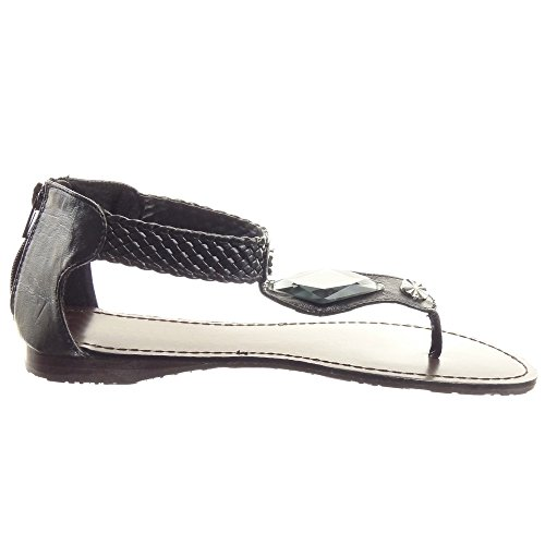Sopily - damen Mode Schuhe Sandalen Schmuck - Schwarz