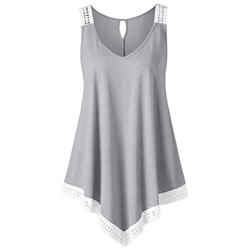 (VIASA_ Fashion Womens Casual V-Neck Swing Lace Asymmetrical Solid Vest Tank Tops Blouse (S, Gray))