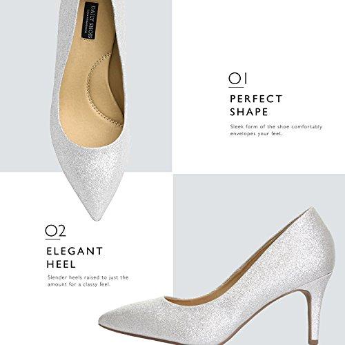 Daily Shoe Mujeres Cómodo Y Elegante Oficina Acolchada Alta Tacones Bajos Puntiagudos Punta Estrecha Bombas De Tacón Alto Zapatos Plata Gl