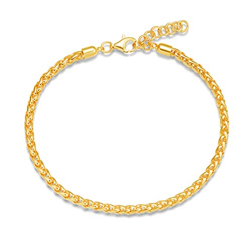 FANCIME Yellow Gold Plated 925 Sterling Silver Cable Link Chain Bracelet For Women Girls, 18 + 2.5cm