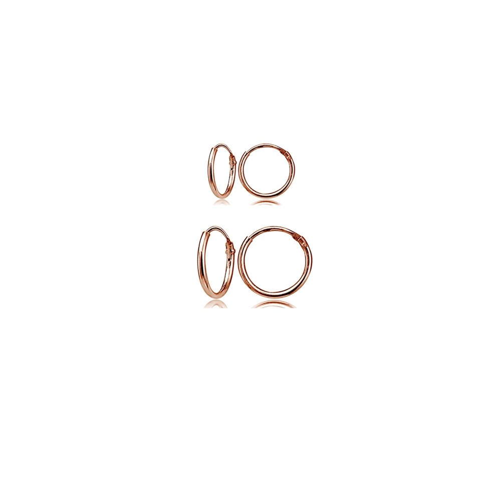 2 Pair Set Rose Gold Flash Sterling Silver 10mm & 12mm Tiny Small Lightweight Thin Round Continuous Endless Unisex Hoop Earrings