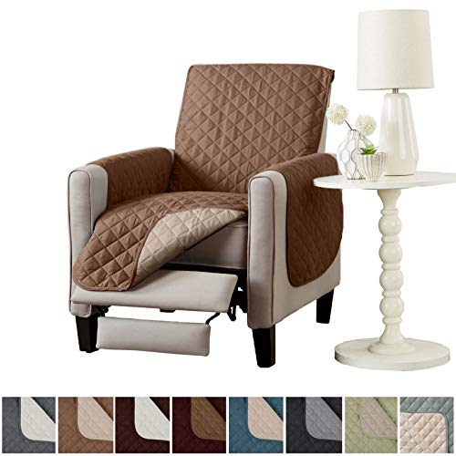 Home Fashion Designs Deluxe Reversible Quilted Furniture Protector. Perfect for Families with Pets and Kids. (Recliner - Prairie/Flax)