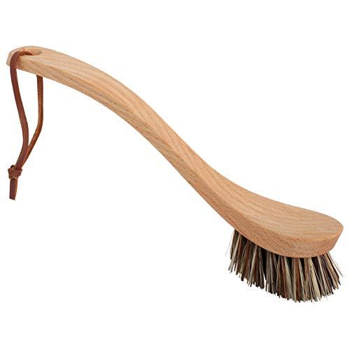 Union Fiber Brush - Redecker Curved Dish Brush, Extra Strong Union Fiber, Oiled Beechwood Handle, 9-1/4