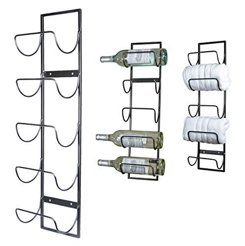 (5 Bottle Wall Mounted Metal Wine Rack, Towel)