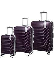 IT LUGGAGE Hardside Luggage Set, 3 Piece, Cabin 54cm 2.7kg/ Med 70 cm 4Kg/ Large 80cm 4.9kg, Potent Purple