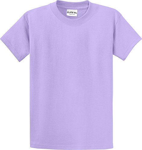 (Clothe Co. Mens Heavyweight 100% Cotton Short Sleeve T-Shirt, Lavender, 6XL)