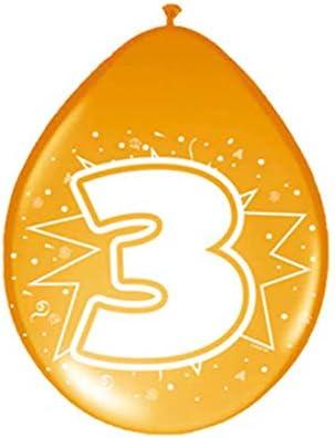 NET TOYS Globos cumpleaños Esfera con número Cumple 3 años balones de Aire Aniversario balón látex con Estampado Esferas hinchables celebración ...
