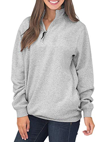 HOTAPEI Womens Sweatshirts Oversized Long Sleeves Collar Quarter 1/4 Zip Fleece Pullover Sweatshirts for Women with Pockets Comfy Outwear Tunic Top Shirts Grey Large