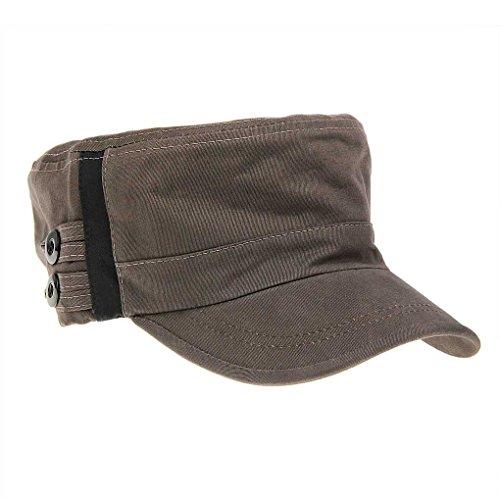 BXT Unisex 100% Cotton Sweat Absorbent Military Baseball Cap Coffee